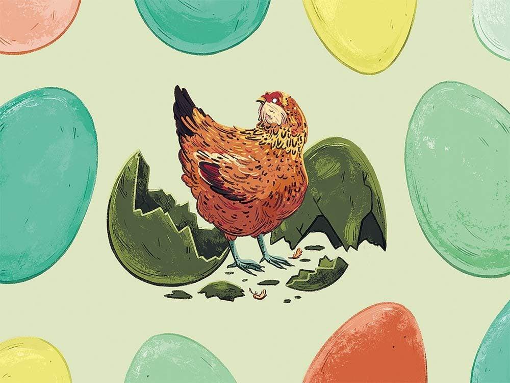 illustration of blind chicken