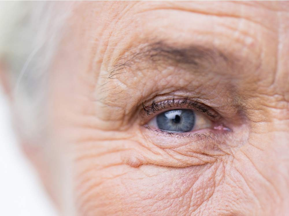 Close-up of elderly woman's right eye