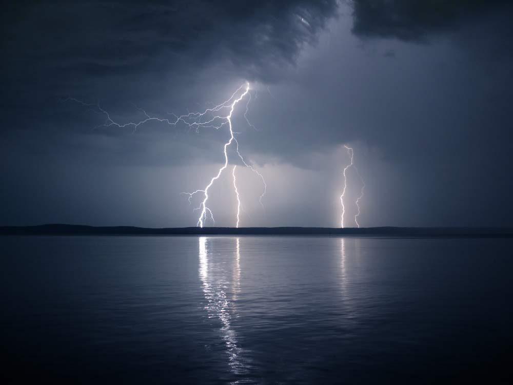Lightning storm over lake