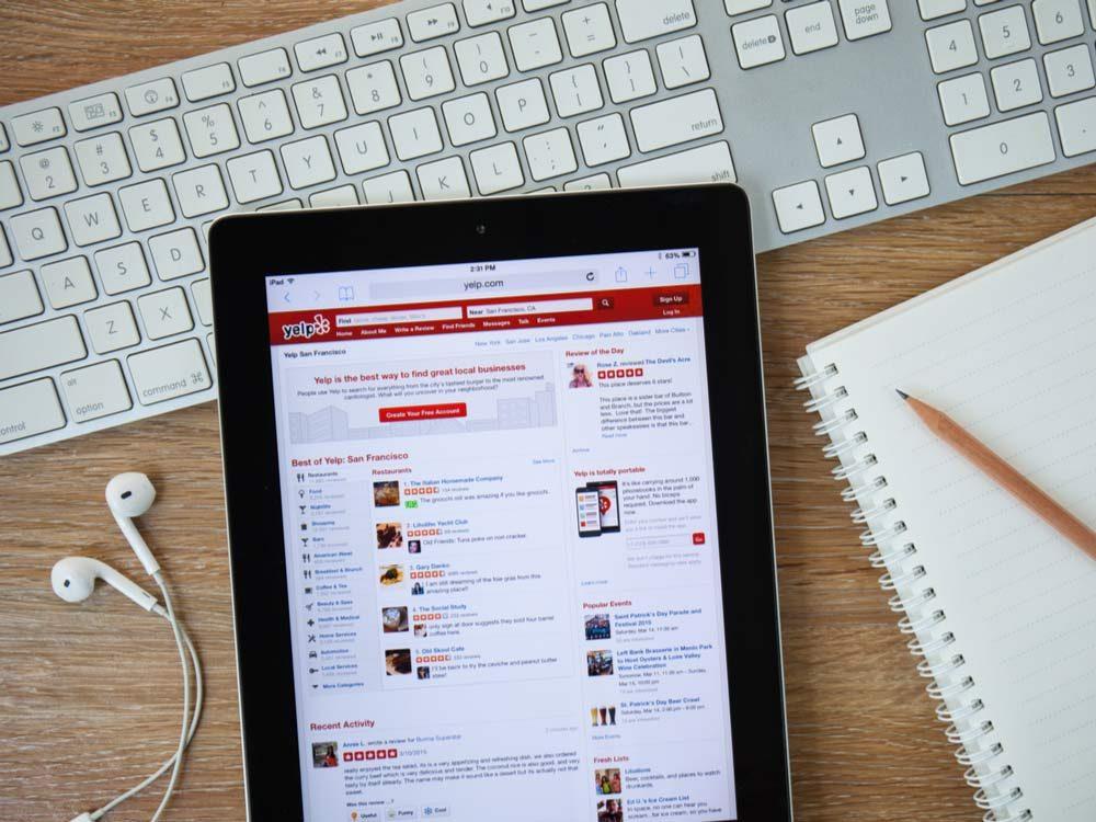 Yelp homepage on tablet