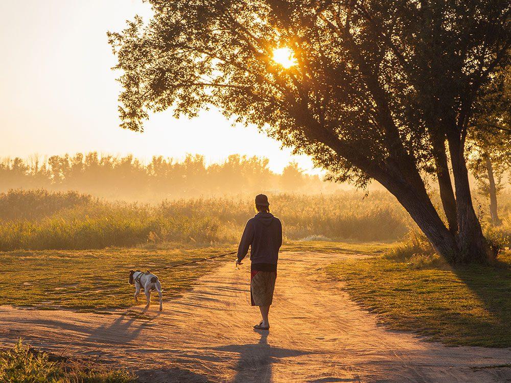 Head outside for a walk before breakfast