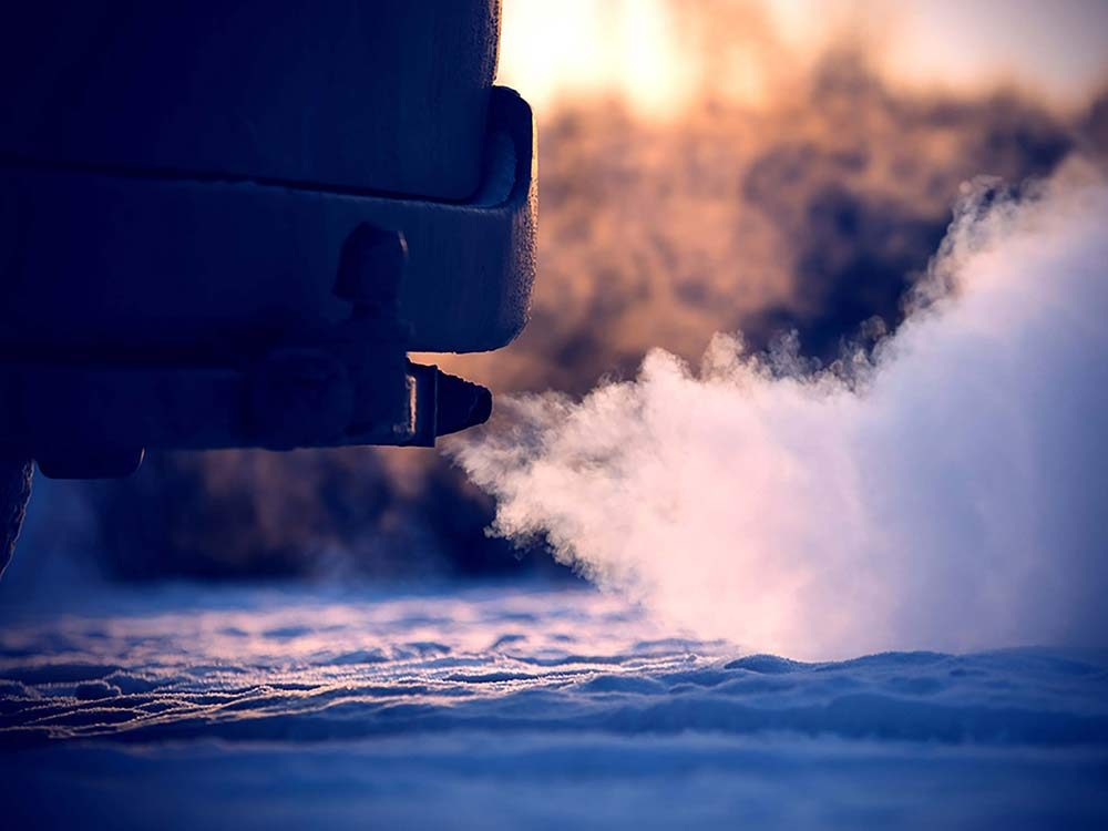 Car engine in winter