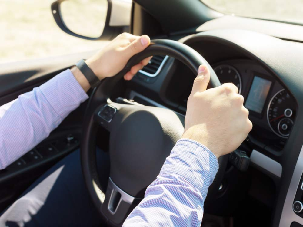 Man driving on long commute