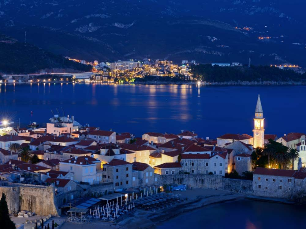 Bay in Montenegro at night