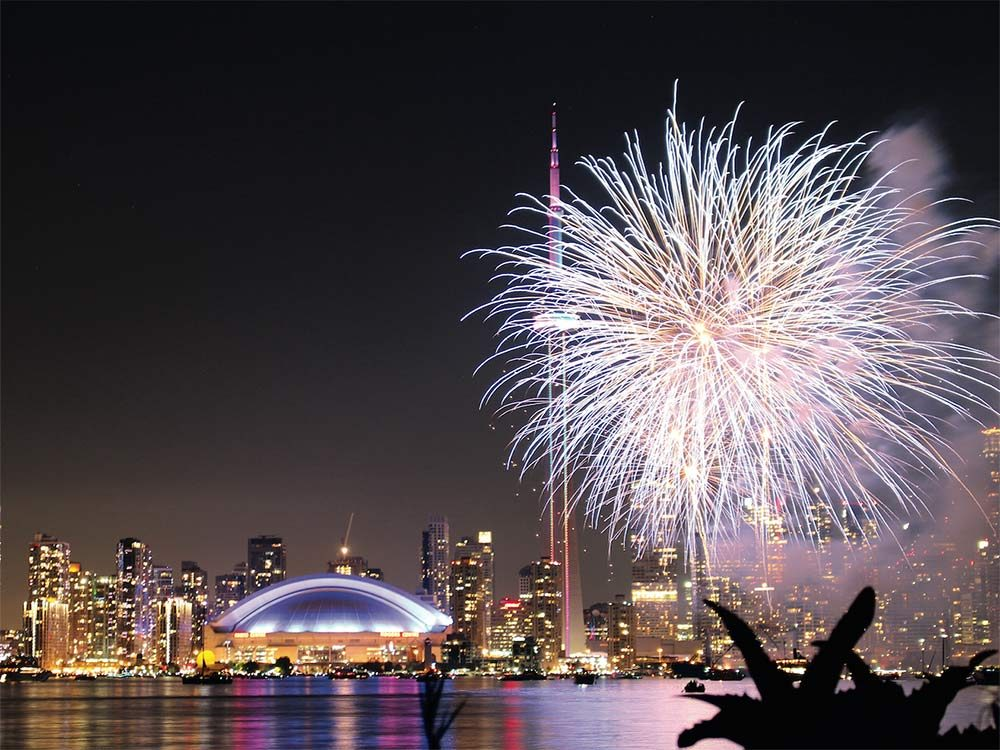 CN Tower at night with fireworks