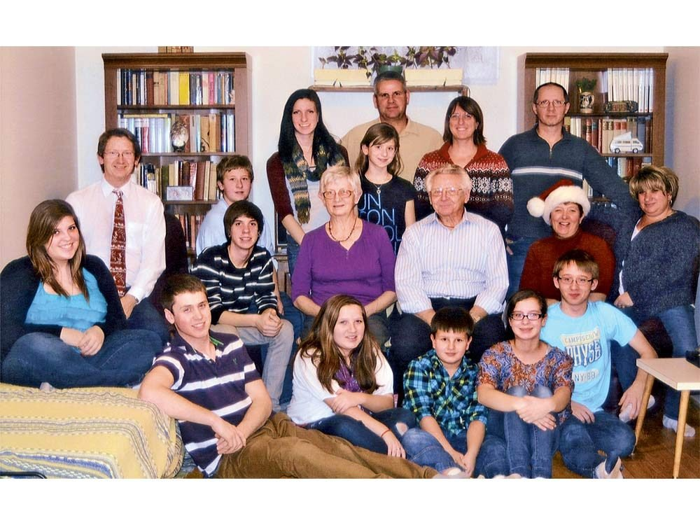 Ruth and Helmut celebrating Christmas 2011 with their family