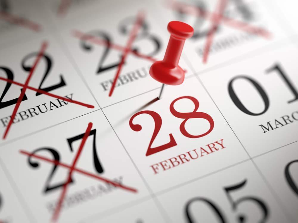 Calendar for month of February
