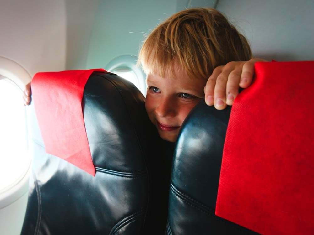 Boy on airplane