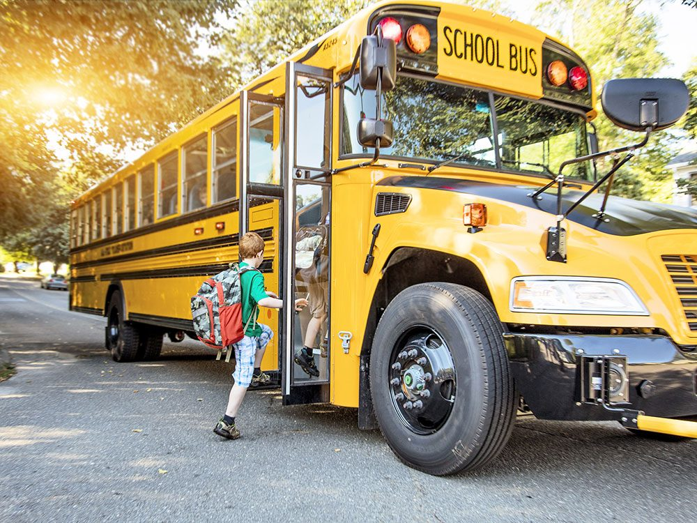 There are hidden cameras on a school bus