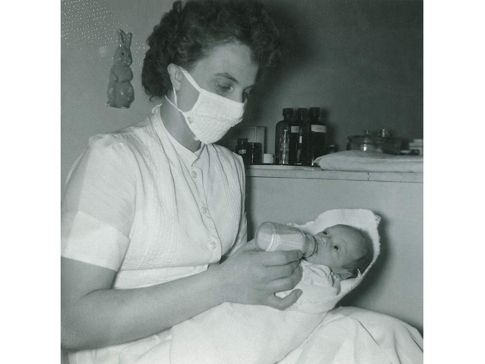 Baby Don with nurse