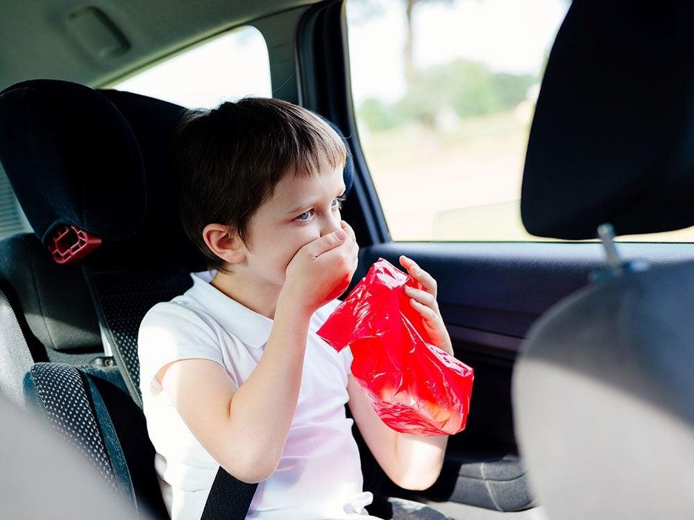 Motion sickness can affect children