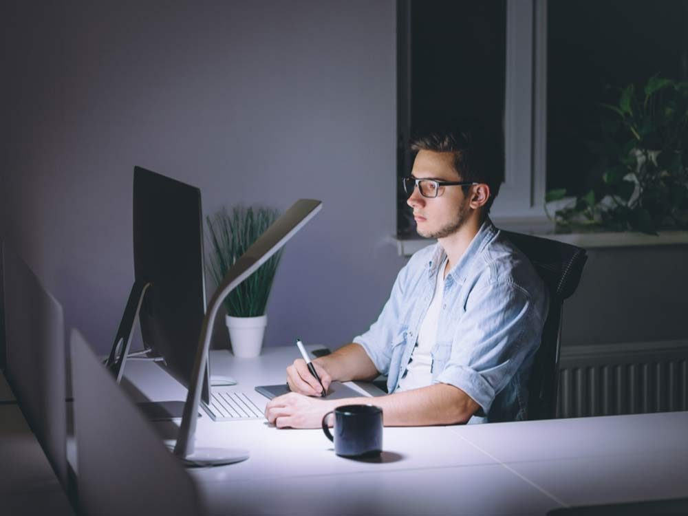 Man working late in office