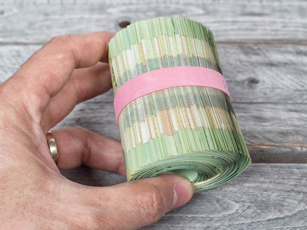 Roll of Canadian money