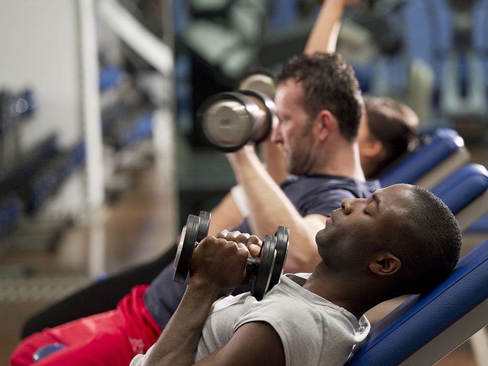 Lifting weights during workout