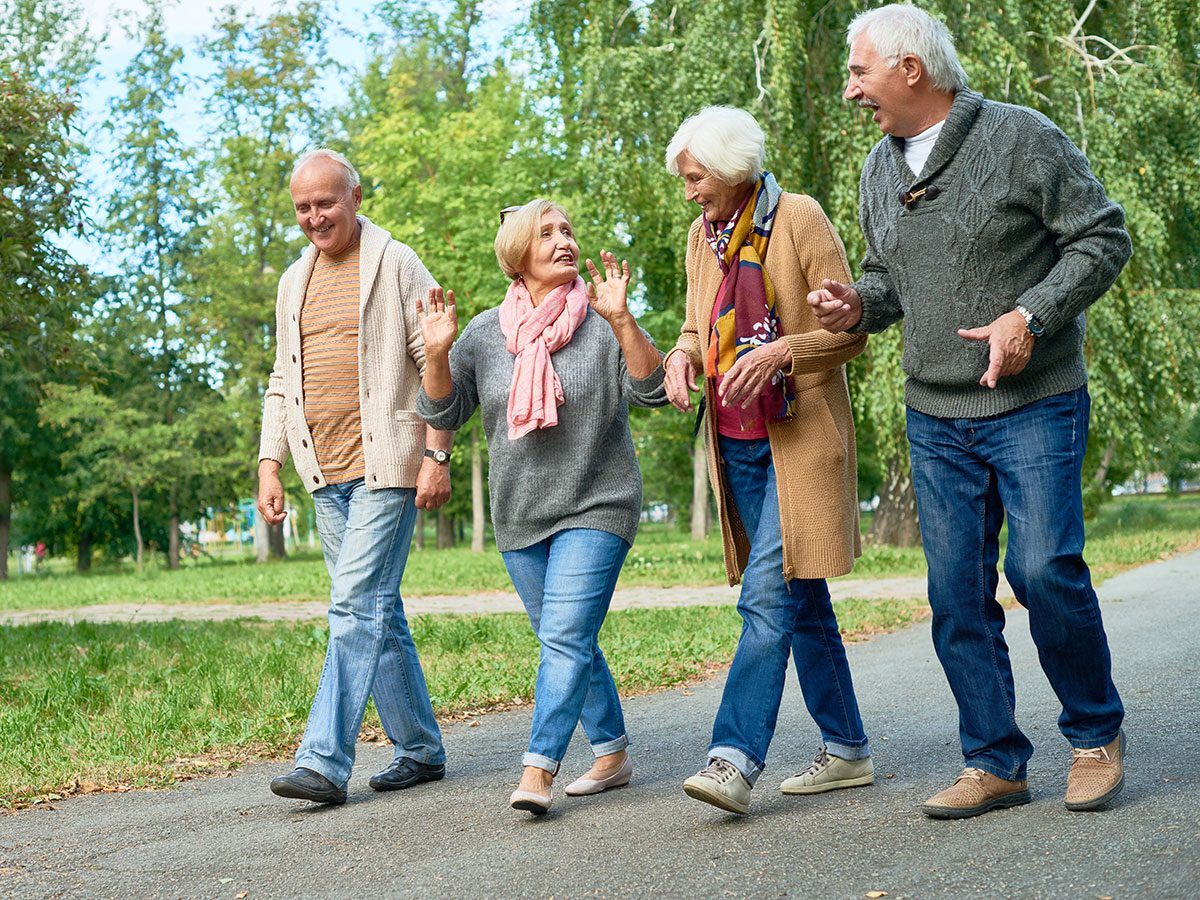 Walking 10,000 steps a day - seniors walking