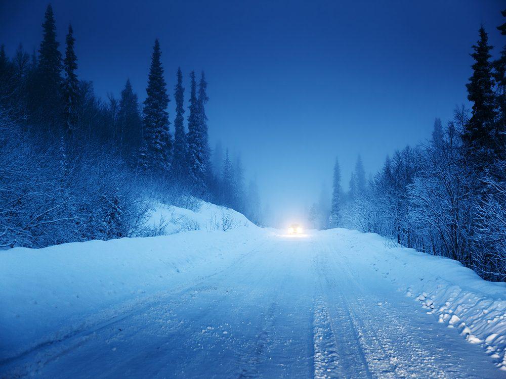 Car stranded on winter road