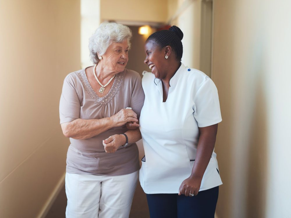 Caregiver with senior patient