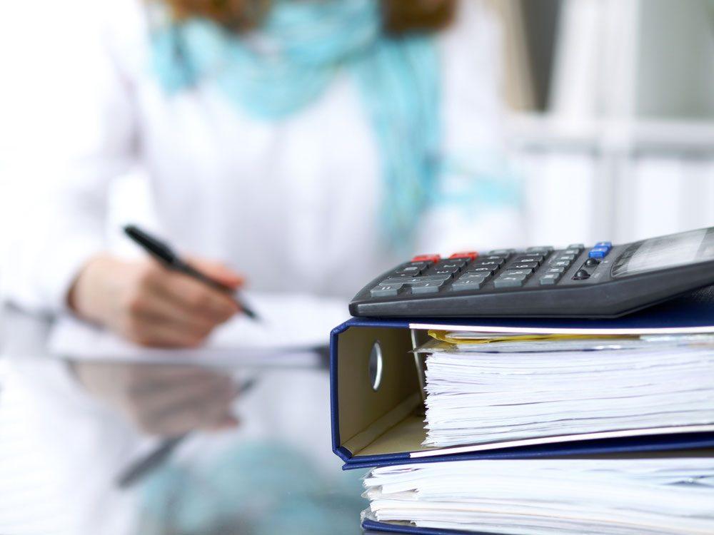 Woman filing taxes