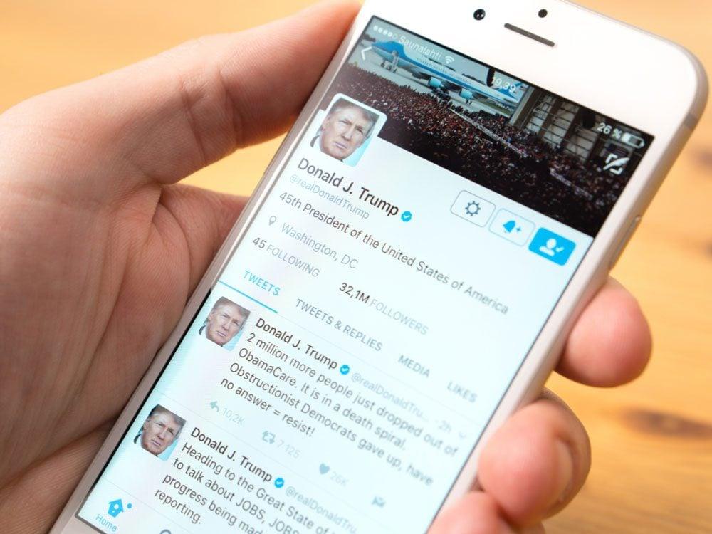 Twitter profile of President Donald Trump
