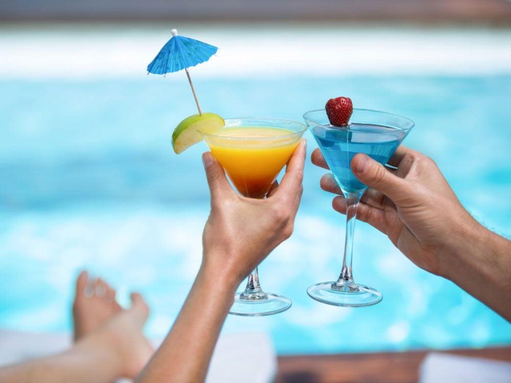 Cocktails at beach resort