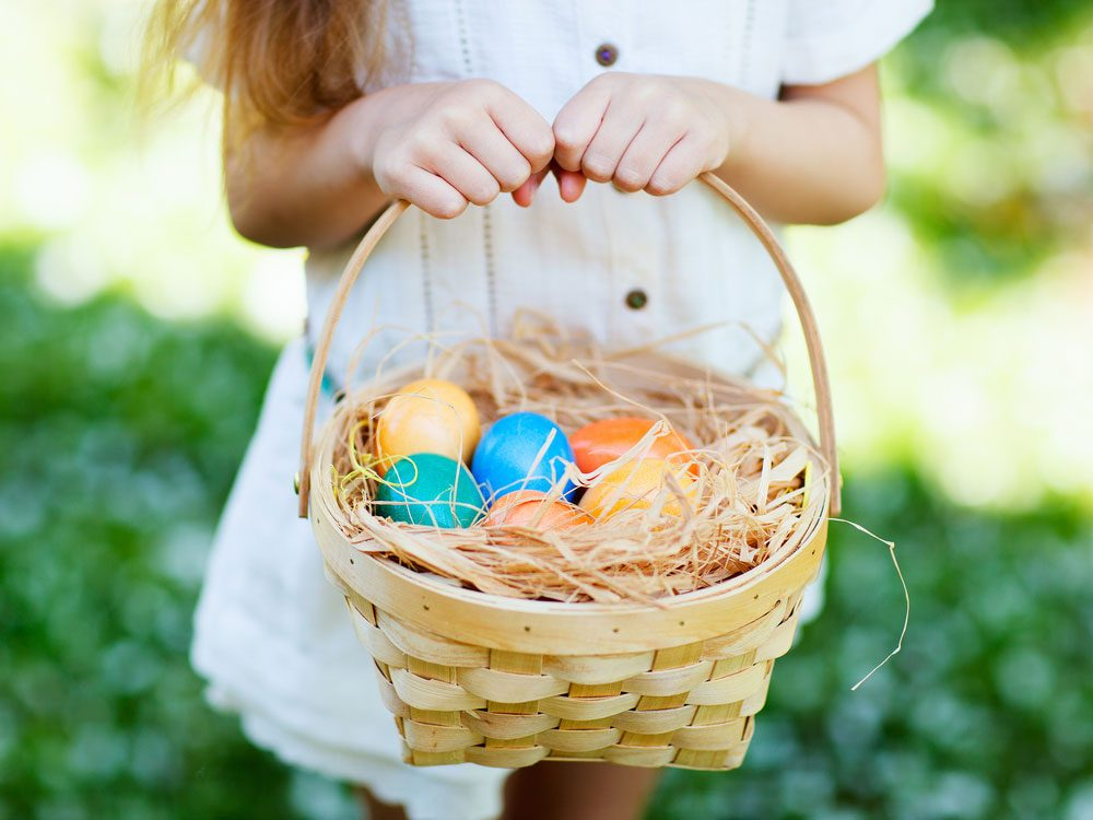 Girl carrying Easter basket
