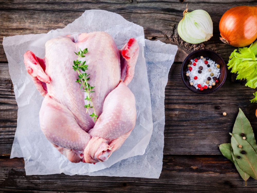 Raw, uncooked turkey