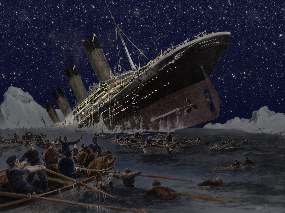 Titanic sinking illustration