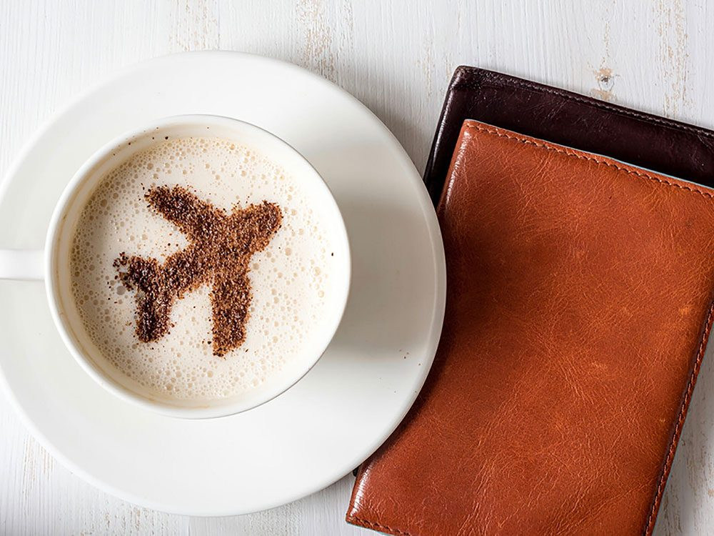 Coffee with plane design