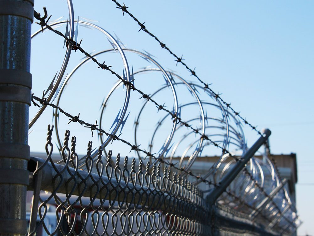 Wire fence of prison facility