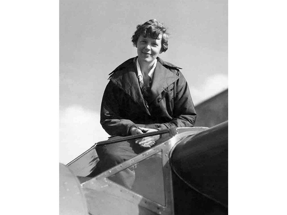 Amelia Earhart in cockpit