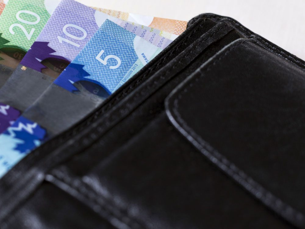 Canadian bank notes in wallet