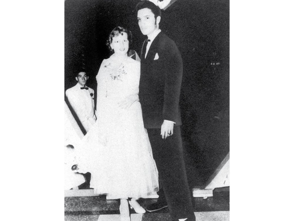 A young Elvis Presley at his high school prom