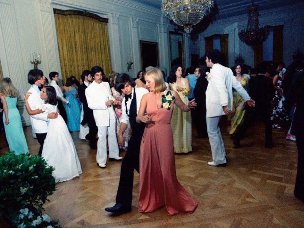 Susan Ford at her high school prom at the White House in 1975