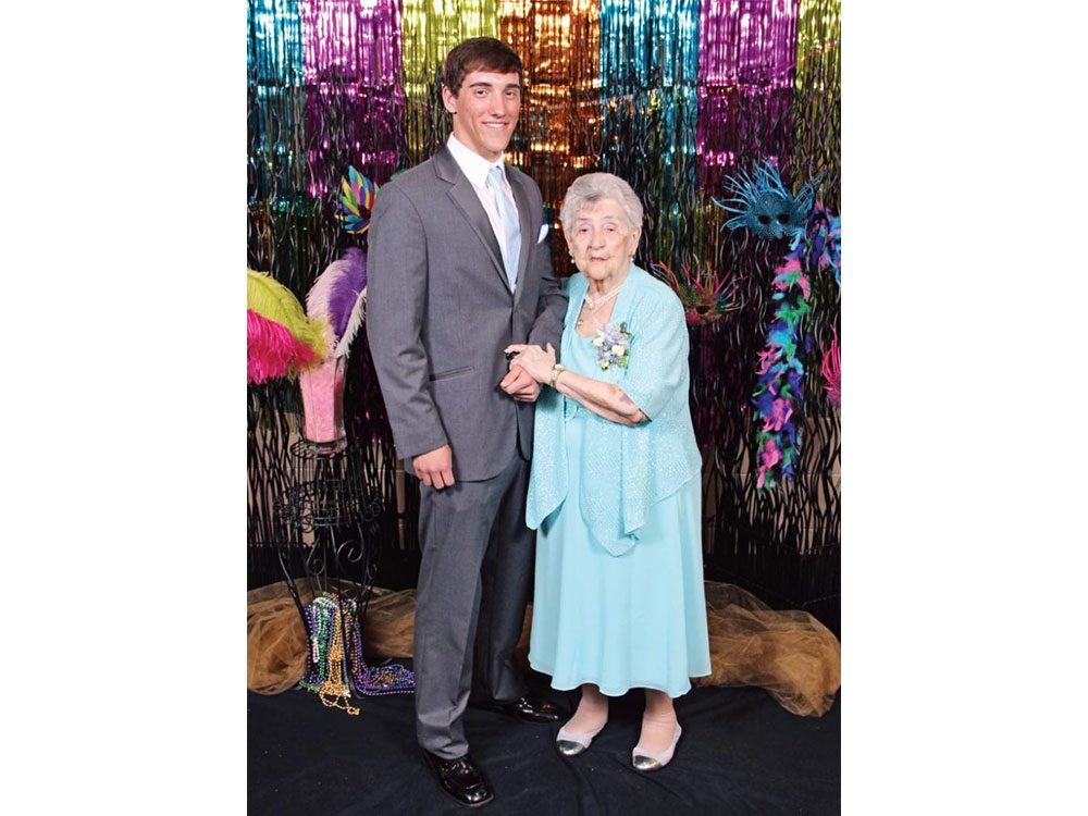 Delores Dennison at her prom with her great-grandson