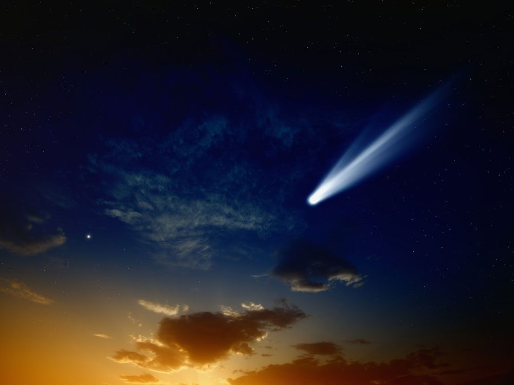 Comet passing in the sky