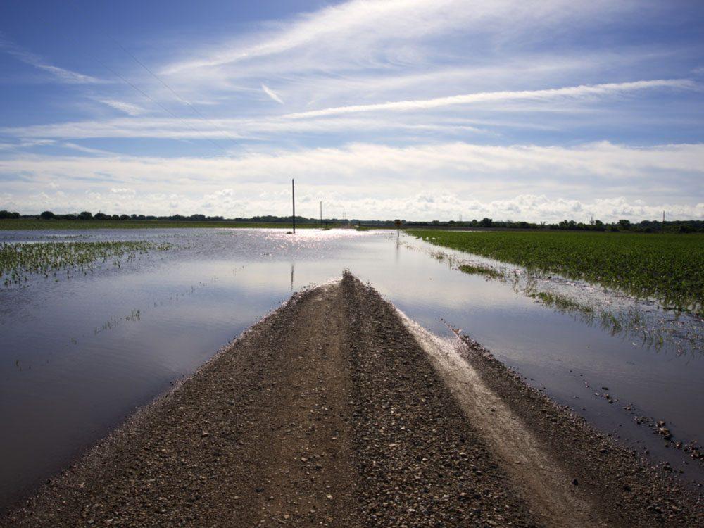 Flooded road in Kansas