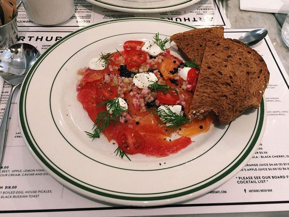 Salmon gravlax from Arthurs Nosh Bar in Montreal