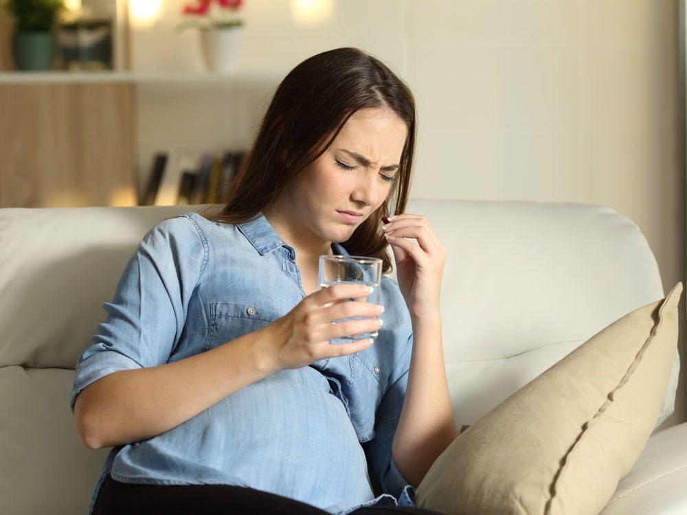 Woman feeling nauseous