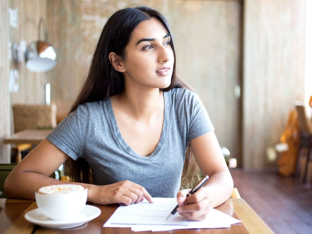 Indian woman at coffee shop
