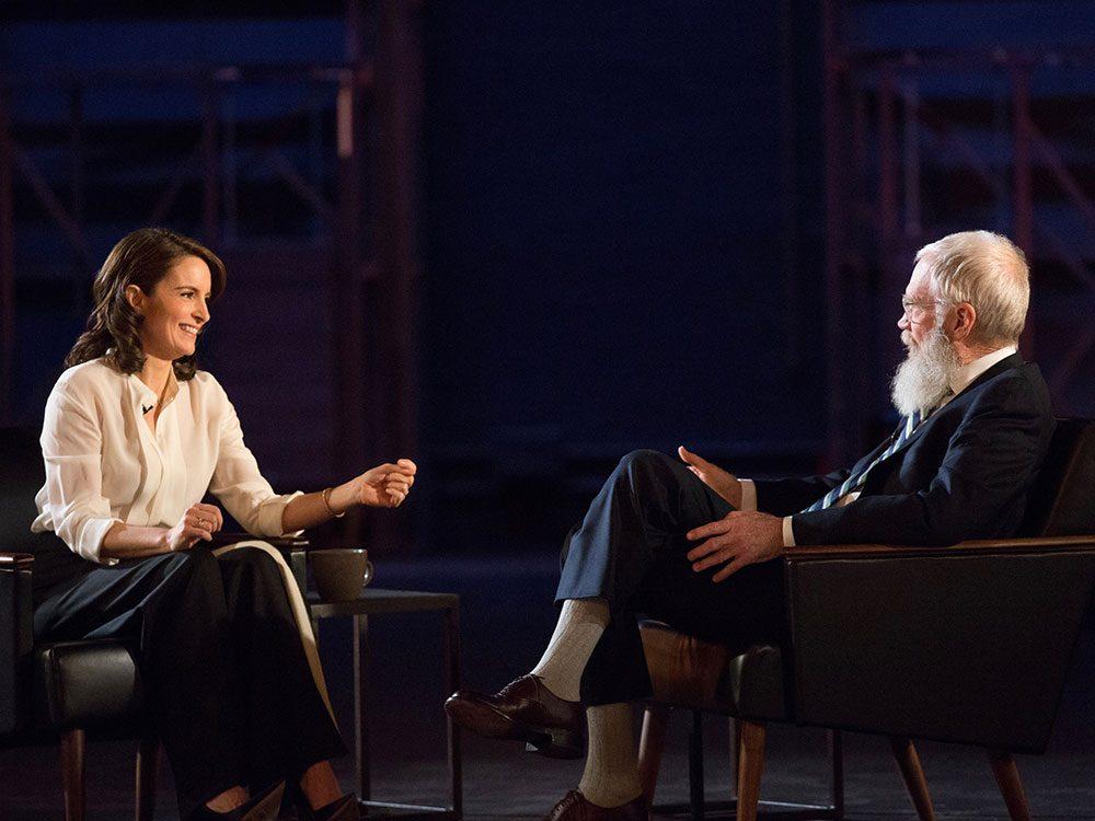 Tina Fey and David Letterman