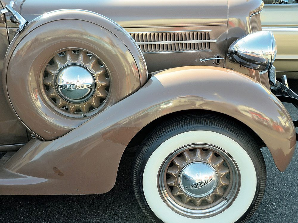 Close-up of classic car's wheels