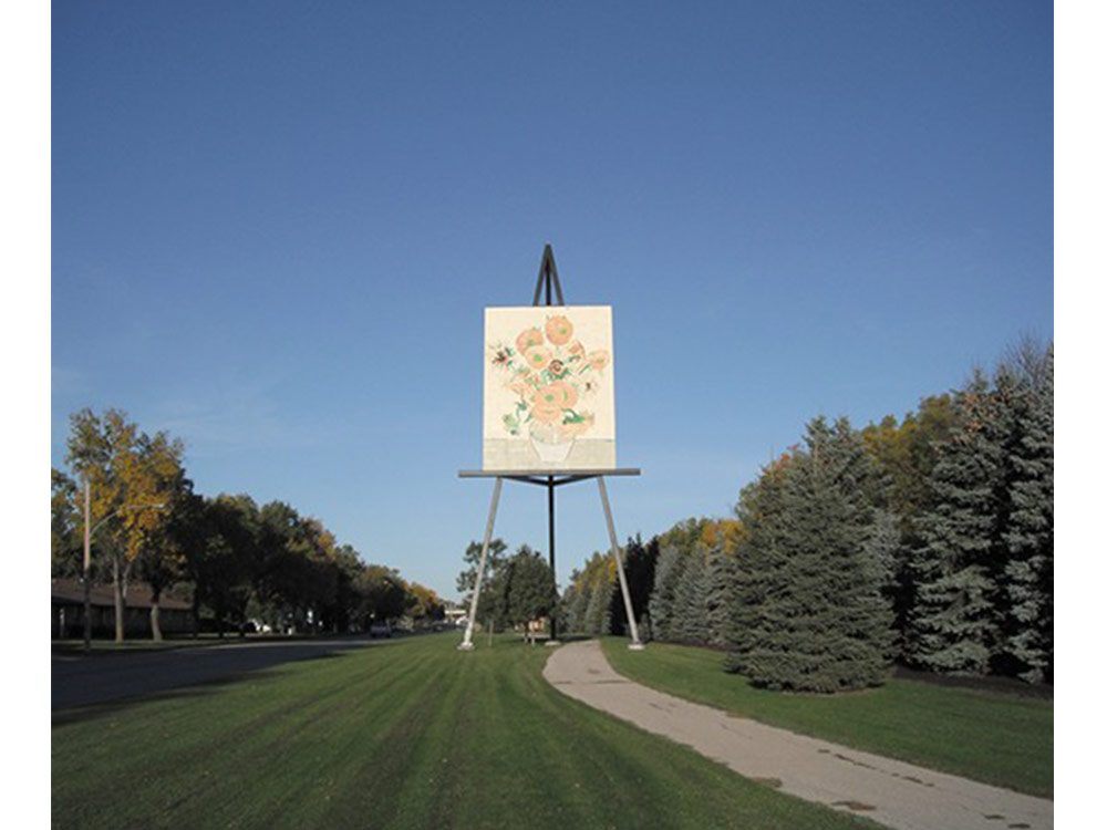 Giant easel sculpture in Manitoba