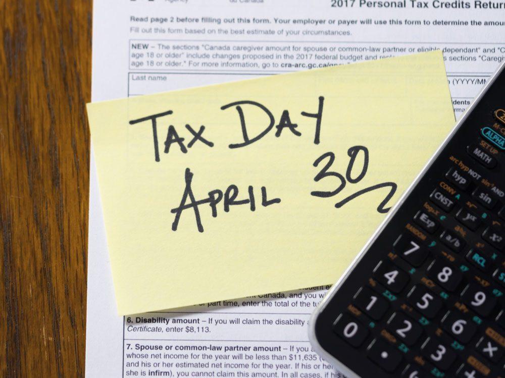 Tax day deadline in Canada
