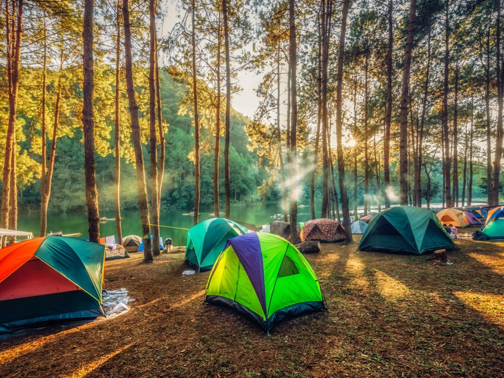 Camping site with several tents