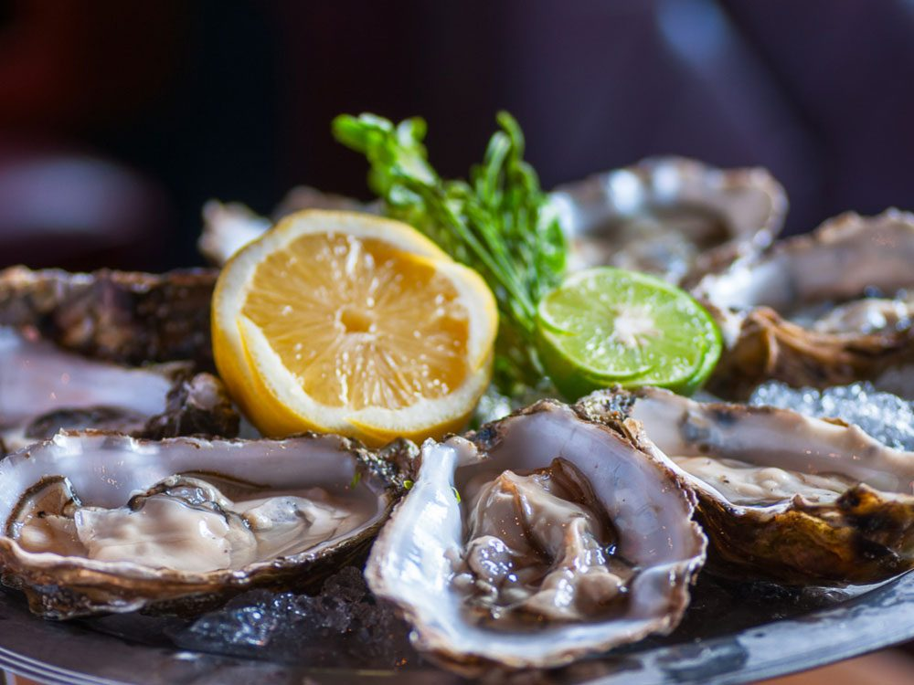 Oyster platter with lemon and lime