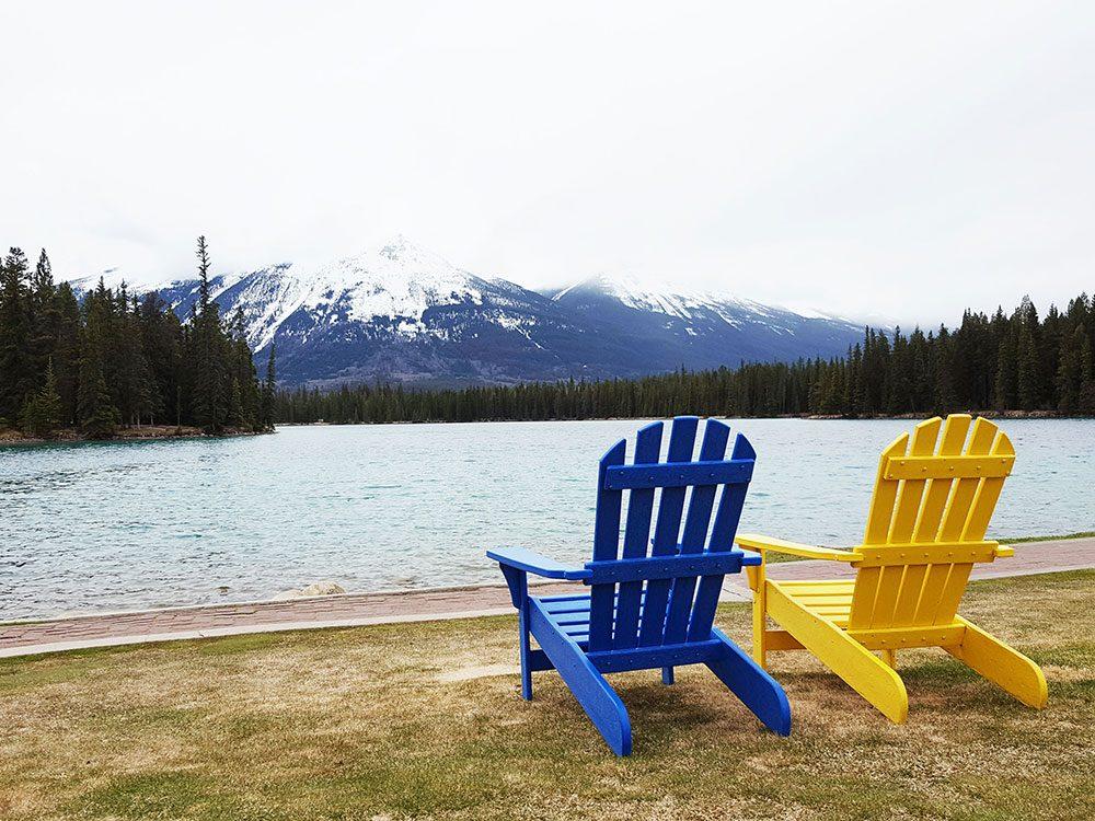 Muskoka chairs on Lac Beauvert, Fairmont Jasper Park Lodge