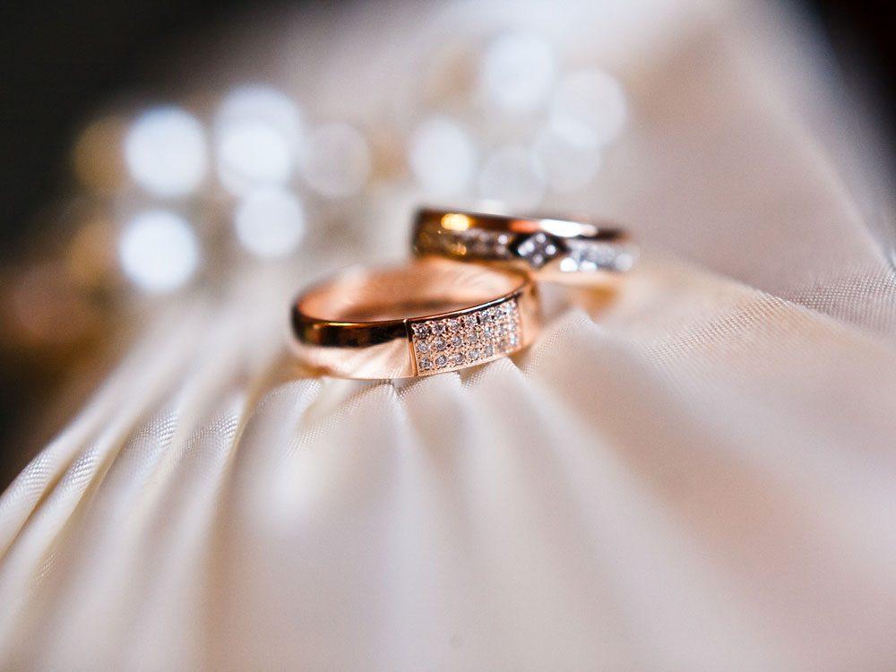 Diamond rings on pin cushion