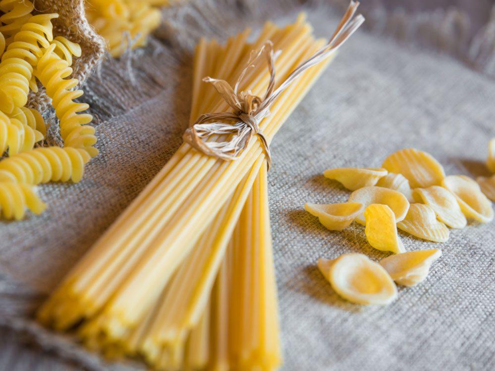 Raw spaghetti noodles