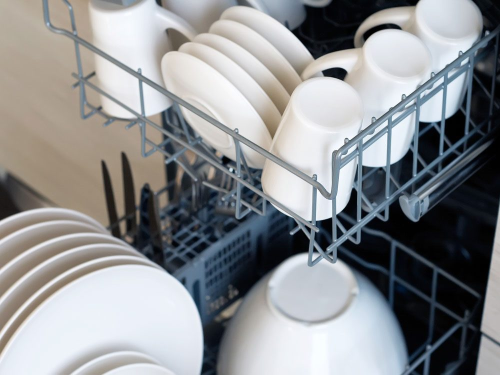 Plates and cups in dishwasher