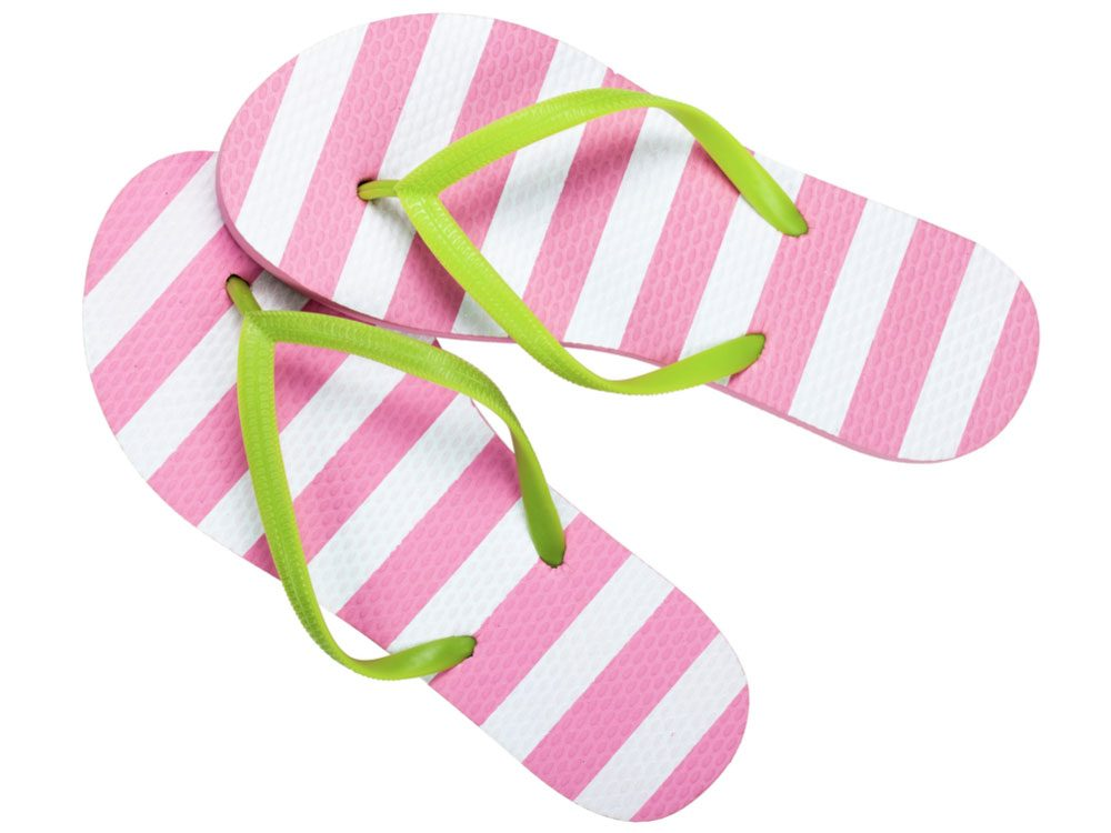 Striped pink, white and green flip flops